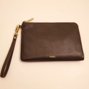 Fossil Wristlet Wallet Black Leather NEW
